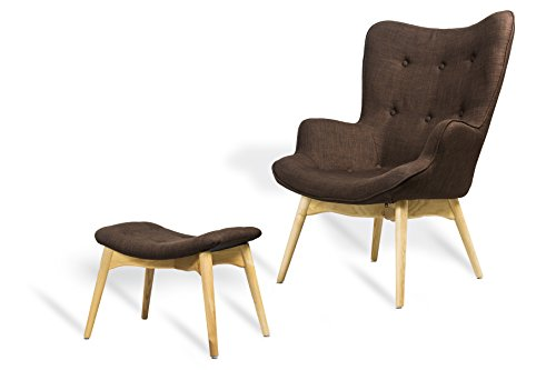 GoodView Designer Ohren-Sessel mit Armlehnen aus Webstoff in Braun mit Hocker | Club-Sessel im Retro-Design | Gestell aus Holz in Natur | 68 x 41 x 92 cm