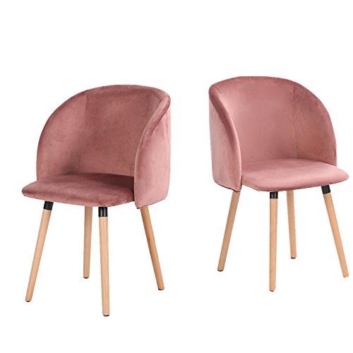 H.J WeDoo 2er Set Esszimmerstuhl samt weich Kissen Sitz und Rücken mit Massivholz Bein Küche Stühle Lounge Sessel Clubsessel Fernsehsessel, Rosa