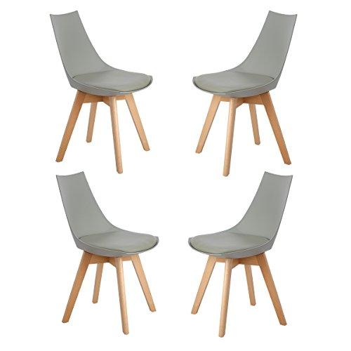 H.J WeDoo 4er Set Retro Designer Stuhl Esszimmerstühle Wohnzimmerstühl mit bequem Gepolstertem Sitz,Grau