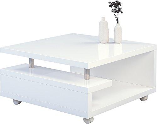HomeTrends4You 131450 Tilda Couchtisch, Holz, weiß hochglanz, 80 x 80 x 42 cm