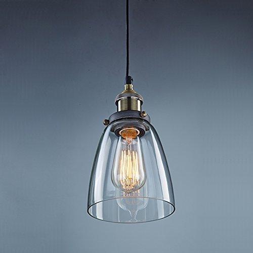 Huntvp Pendelleuchte Retro Industrie Hängelampe E27 Vintage Glas Lampenschirm Loft Deckenleuchten Geeignet für Wohnzimmer Esszimmer Cafe Bar Küche usw. [Ohne Lichtquelle]