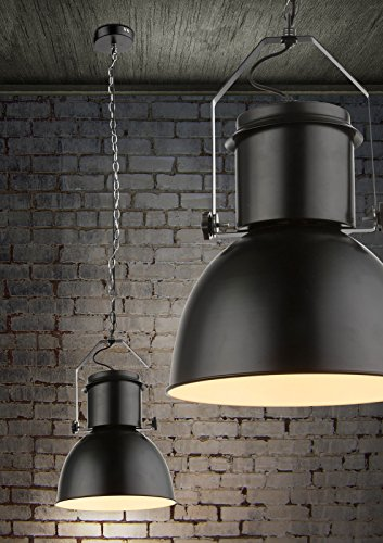 Industrielle Hängeleuchte 1 flammig Vintage Esszimmer Lampe Hängelampe Pendelleuchte Metall Schwarz (Pendellampe, Deckenlampe, Küchenlampe, 27 cm, Höhe 120 cm)