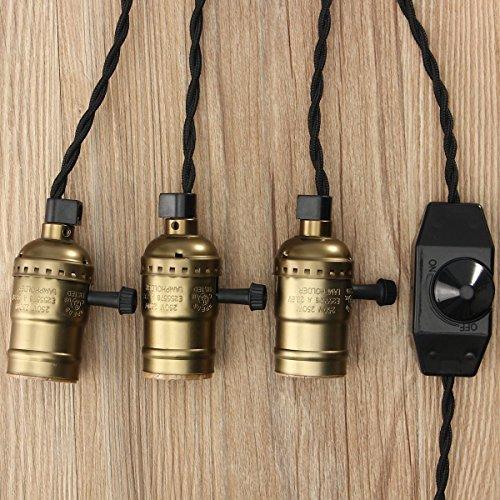 KINGSO Vintage Retro Hängeleuchte Edison Antike Pendelleuchte DIY Lampe mit Dimmbarem Schalter und Stecker, 3 E27 Fassungen, Textilkabel Imitation Bronz