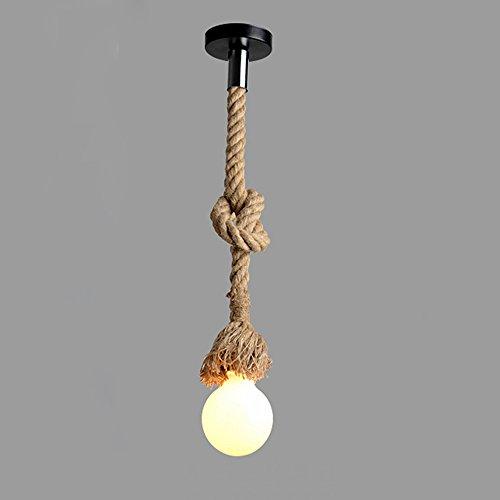 Lixada 150cm Vintage Seil Hängelampe Pendelleuchte AC220V E27 (ohne Birne)