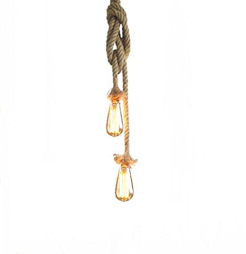 Lixada Vintage Seil Hängelampe 150cm(75cm+75cm)Pendelleuchte AC220V E27 (ohne Birne)