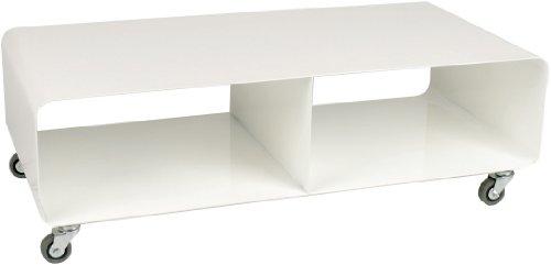 Lounge M TV Mobil, Weiß Hochglanz, modernes, schmales Lowboard Möbel im Retro-Look, Couchtisch mit Rollen, (H/B/T) 30x90x42cm
