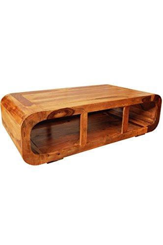 MAADES Wohnzimmertisch Couchtisch aus Holz massiv Elexa 110cm   Vintage Tisch aus Sheesham Massivholz für Ihre Wohnzimmer   Niedriger Moderner Design Sofatisch Massivholztisch modern in Light Braun