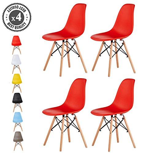 MCC Retro Design Stühle LIA im 4er Set, Eiffelturm inspirierter Style für Küche, Büro, Lounge, Konferenzzimmer etc., 6 Farben, KULT (rot)