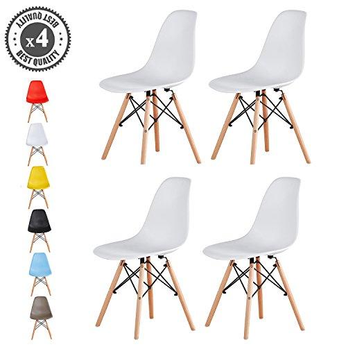 MCC Retro Design Stühle LIA im 4er Set, Eiffelturm inspirierter Style für Küche, Büro, Lounge, Konfernzzimmer etc., 6 Farben, KULT (Weiß)