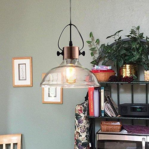 MStar Retro Industrielle Pendelleuchte mit Glas Lampenschirm Vintage Kupfer Metall Hängeleuchte E27 40W Edison