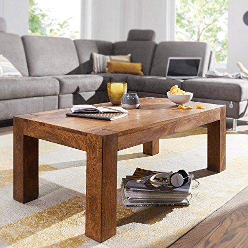 Massiver Couchtisch PATAN 110 x 60 x 40 cm Sheesham Holz Massiv   Wohnzimmertisch Rechteckig Braun   Beistelltisch Massivholz   Design Holztisch Wohnzimmer
