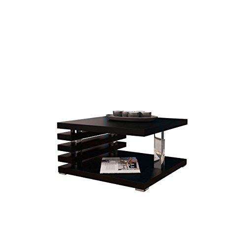 Mirjan24  Couchtisch Kyoto, Kaffeetisch, Sofatisch 60x60 cm, Wohnzimmertisch, Couchtisch, Modern Stilvoll, Hochglanz, Matt (Schwarz Matt)
