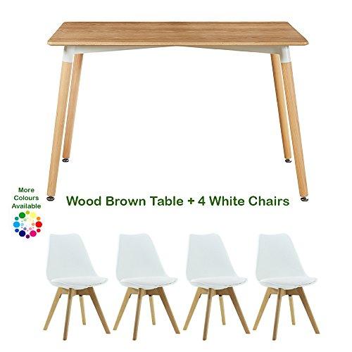 P & N Homewares® Lorenzo Esstisch und 4 Stühle Set Retro und modernes Skandinavisches Esszimmer Set Weiß Schwarz Grau Rot Pink Grün mit Holz braun Esstisch weiß