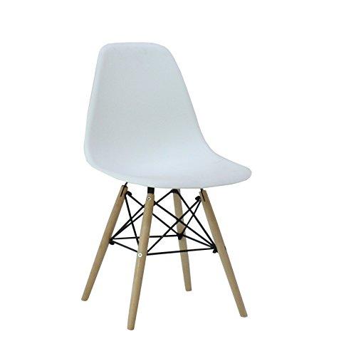 P & N Homewares® Moda Esszimmerstuhl Kunststoff Holz Retro Esszimmer Stühle weiß modernes Möbel, weiß, 1 Stuhl