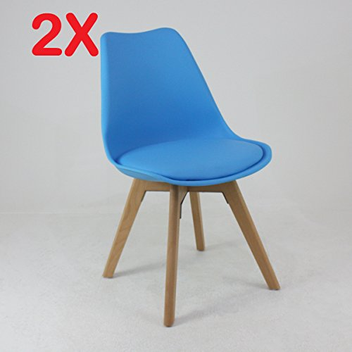 P & N Homewares® (Set von 2) Lorenzo Tulip Stuhl Kunststoff Retro Esszimmer Stühle weiß schwarz grau rot gelb pink grün blau blau