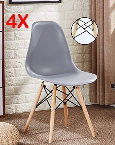 P & N Homewares® Set von 4Romano DS Moda Stuhl Kunststoff Retro Esszimmer Stühle weiß schwarz grau rot gelb pink grün blau grau