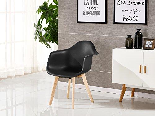 P&N Homewares Rico DA Tub Stuhl skandinavisch Esszimmerstuhl Bürostuhl Wohnzimmer Stuhl in Weiß Dunkelgrau Hellgrau Weiß und Schwarz Retro Skandinavischer Stuhl Moderner Moderner Stuhl (Schwarz)