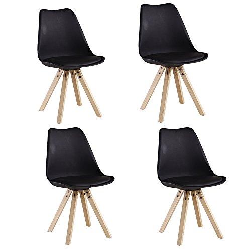 P&N Homewares Satz von 4 Sofia Eiffelturm inspiriert Stuhl aus Kunststoff Retro Weiß Schwarz Grau Rot Gelb Pink Grün Blau weiß Skandinavischen Stuhl (SCHWARZ)