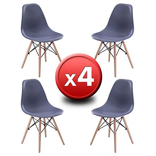 Pack 4Stühle Design ST004Graustufen, EUROSILLA. Stühle inspiriert von Eames DSW Design. Hochwertige Buchefüße Stil Wooden und Sitze in robustem Kunststoff ABS. Grau