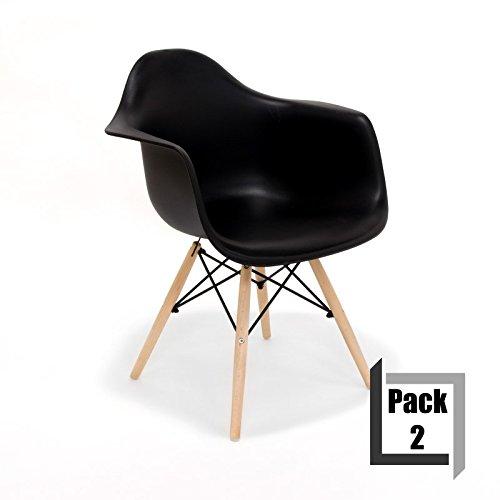 Pack von 2Stühle Tower Wood Replica Eames, hochwertige Polypropylen und Holz Buche–Arme Schwarz