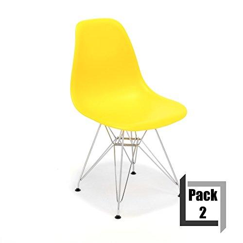 Pack von 2Stühle Tower replica Eames, hochwertige Polypropylen und Füße Stahl–Weiß gelb