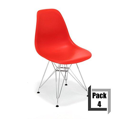 Pack von 4Stühle Tower replica Eames, hochwertige Polypropylen und Füße Stahl–Weiß rot