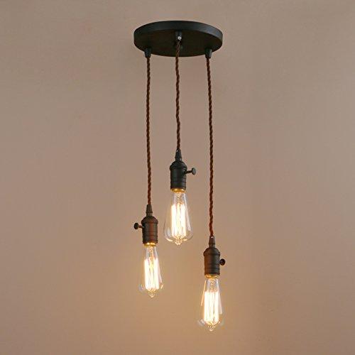Pathson 3 Lampenfassung Retro Design Pendelleuchte Hängeleuchte Vintage Industrie Loft-Pendelleuchte Hängelampen Hängeleuchte Pendelleuchten (Schwarz Farbe)