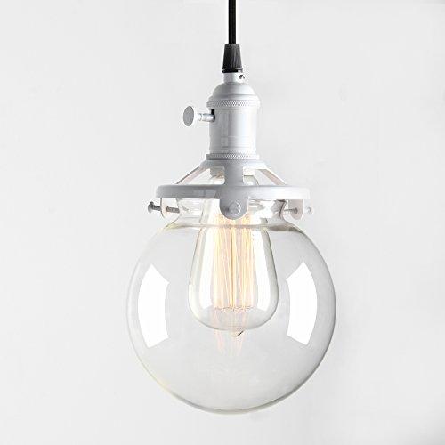 Pathson Antik Deko Design Klar Glas innen Pendelleuchte Hängeleuchte Vintage Industrie Loft-Pendelleuchte Hängelampen Hängeleuchte Pendelleuchten (Weiße Farbe)