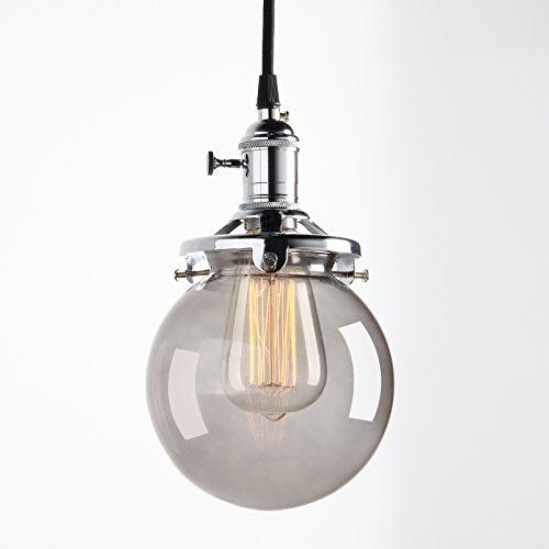 Pathson Antik Deko Design Rauchglasoptik innen Pendelleuchte Hängeleuchte Vintage Industrie Loft-Pendelleuchte Hängelampen Hängeleuchte Pendelleuchten (Chrom Farbe)