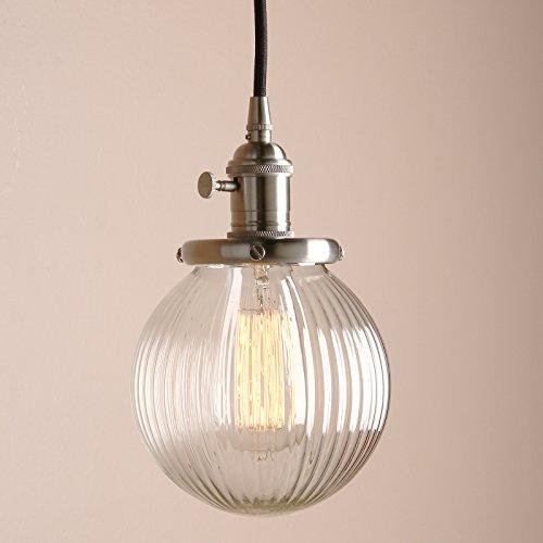 Pathson Antik Design Gestreifte Kleine Kugel Glas innen Pendelleuchte Hängeleuchte Vintage Industrie Loft-Pendelleuchte Hängelampen Hängeleuchte Pendelleuchten (Gebürsteter Edelstahl Farbe)
