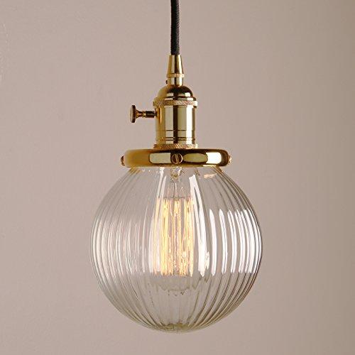 Pathson Antik Design Gestreifte Kleine Kugel Glas innen Pendelleuchte Hängeleuchte Vintage Industrie Loft-Pendelleuchte Hängelampen Hängeleuchte Pendelleuchten (Gold Farbe)