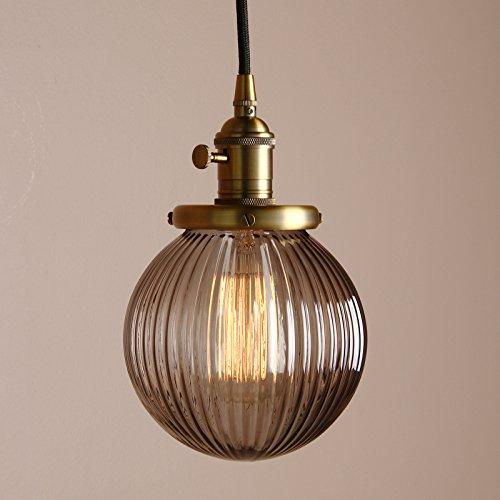 Pathson Antik Design Gestreifte Kleine Kugel Grau Glas innen Pendelleuchte Hängeleuchte Vintage Industrie Loft-Pendelleuchte Hängelampen Hängeleuchte Pendelleuchten (Kupfer)