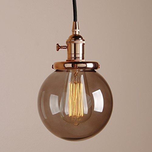 Pathson Antik Design Kleine Kugel Grau Glas innen Pendelleuchte Hängeleuchte Vintage Industrie Loft-Pendelleuchte Hängelampen Hängeleuchte Pendelleuchten (Kupfer Farbe)