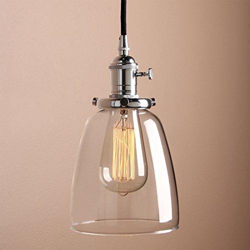 Pathson Antike Pendelleuchte Industrie Loft-Pendelleuchte Klar Glas Pendelleuchte Hängeleuchte Vintage Hängelampen (Chrom Farbe)
