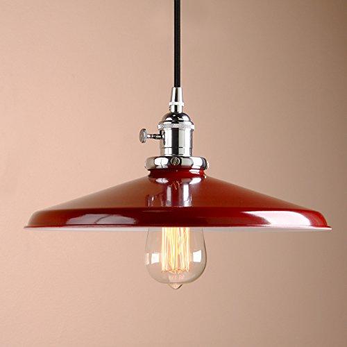 Pathson Industrie Loft-Pendelleuchte Antik Deko Design Deckel Metall Schirm innen Pendelleuchte Hängeleuchte Vintage Hängelampen Hängeleuchte Pendelleuchten (Rot)