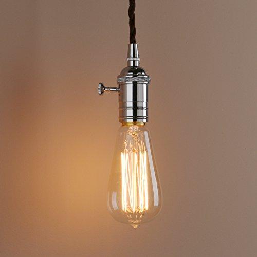 Pathson Vintage Industrie Loft-Pendelleuchte Antik Deko Design Pendelleuchtung Hängeleuchte Hängelampen (Chrom Farbe)