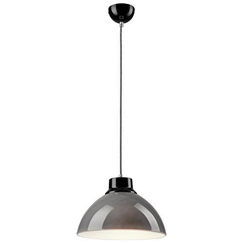 Pendel-Lampe Decken-Leuchte aus Glas E27 Hänge-Leuchte (Farbe: Grau/Schwarz) Vintage Industrieleuchte Wohnzimmerlampe Modern Wohnzimmer mit Kabel Vintagelampe für Wohnzimmer / Küche / Büro / Praxis