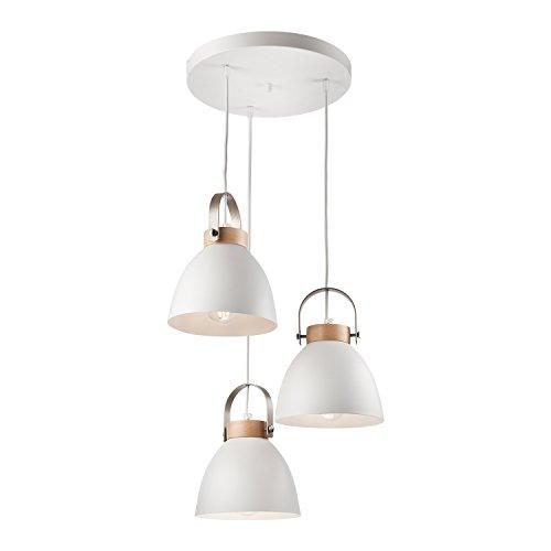 Pendel-Leuchte Decken-Leuchte aus Metall E27 Hänge-Leuchte (Farbe: Weiss) Vintage Industrieleuchte Wohnzimmerlampe Modern Wohnzimmer mit Kabel Vintagelampe für Wohnzimmer / Küche / Büro / Praxis