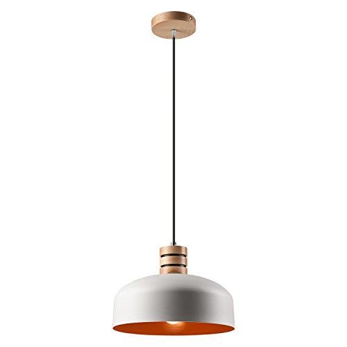 Pendel-Leuchte Decken-Leuchte aus Metall / Holz E27 Hänge-Leuchte (Farbe: Weiss/Orange) Vintage Industrieleuchte Wohnzimmerlampe Modern Wohnzimmer mit Kabel Vintagelampe für Wohnzimmer / Küche / Büro / Praxis
