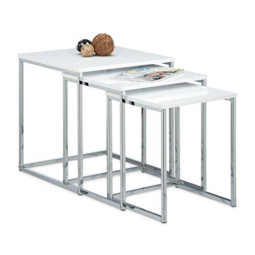 Relaxdays Beistelltische 3er Set, Couchtisch, Holz, Metall, Satztische, modernes Design, HxBxT: ca. 42 x 40 x 40 cm, weiß