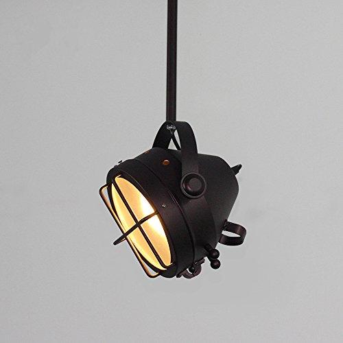 Retro Industrie Art Pendelleuchte Rund Hängelampe Vintage-Look schwarz Eisen Lampenschirme Pendellampe Beleuchtung Leuchte E27 Max 1 x 40W Ø 18CM 220-240V für Loft, Esszimmer, Wohnzimmer-Küche