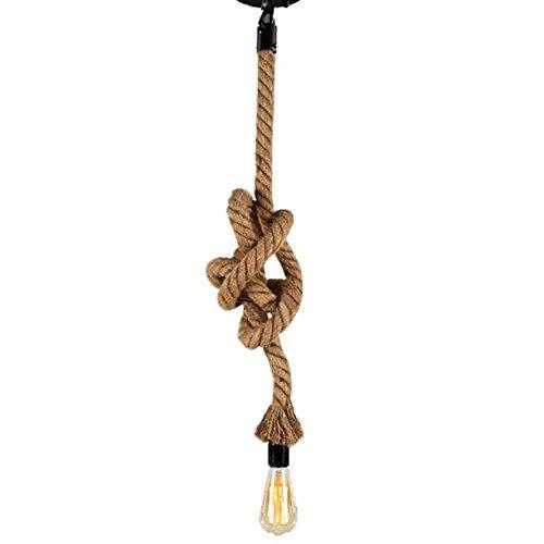 Retro Seil Pendelleuchte Vintage Hanf Seil Hängelampe 200CM AC220V 1X E27 Fassung (ohne Birne) für Wohnzimmer Bar Öffentliche Plätze Dekor Rustic Hanfseil Decke Kronleuchter (2M)