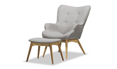 Retro Sessel mit Hocker, Ohrensessel, Eiche Farbe , Vintage - verschiedene Farben (Hellgrau - Ontario 90)