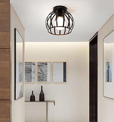Retro Vintage Deckenlampe Deckenstrahler Industrie Metal Antiquitäten Innen beleuchtung Kreative Loft Wohnzimmerlampe Küchen Schlafzimmer Pendelleuchte Edison Lampe Ø16cm (Schwarz)
