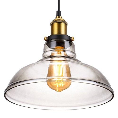 Retro Vintage Pendelleuchte industrielle metalliche Hängelampe, Oak Leaf antike Brauglas Lampeschirm E27 für Küche und Bar