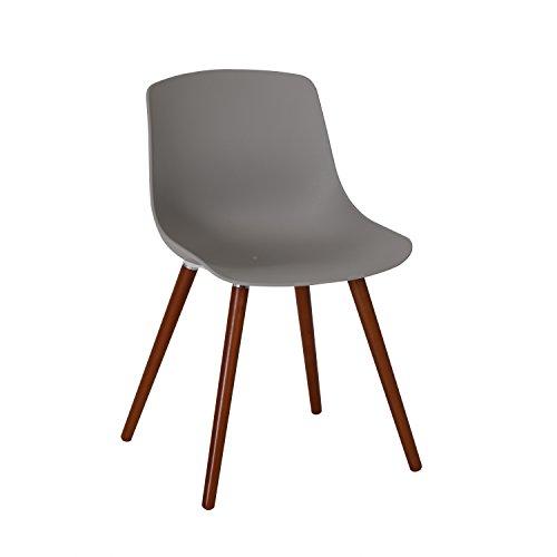 """Ribelli® Gartenstuhl """"Solentum"""" aus Kunststoff in Grau - Stuhl mit Holzbeinen für Garten, Balkon & Terrasse - Gartensessel im Retro Look - Lounge Sessel modern"""