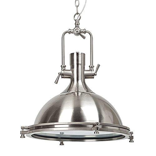 Robuste Pendelleuchte im Industrie Design, 1x E27 max. 60W, Ø 45 cm, Metall / Glas, eisen