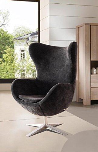 SAM® Design Armlehn Stuhl 4620-S in schwarz Armlehnstuhl in Stoff mit Füßen aus Edelstahl, Sessel höhenverstellbar, abnehmbares Sitzkissen, 360° drehbar, bequemer Sitzkomfort