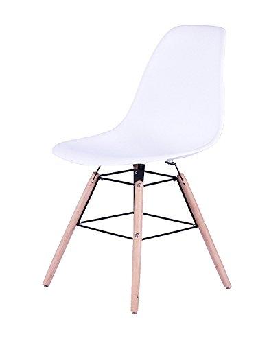 SAM Design-Schalenstuhl Helsinki, Weiß, massive Beine aus Buche, ergonomisch geformte Sitzschale, bequemer Esszimmer-Stuhl für Küche und Wohnzimmer