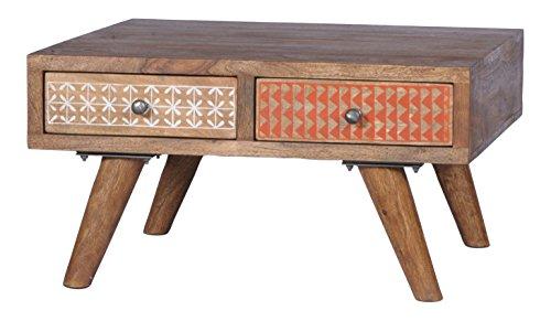 SIT-Möbel Scandi 4370-01 Couchtisch, 4 bemalte Schubladen, aus Sheesham-Holz, natur, 70 x 40 x 70 cm